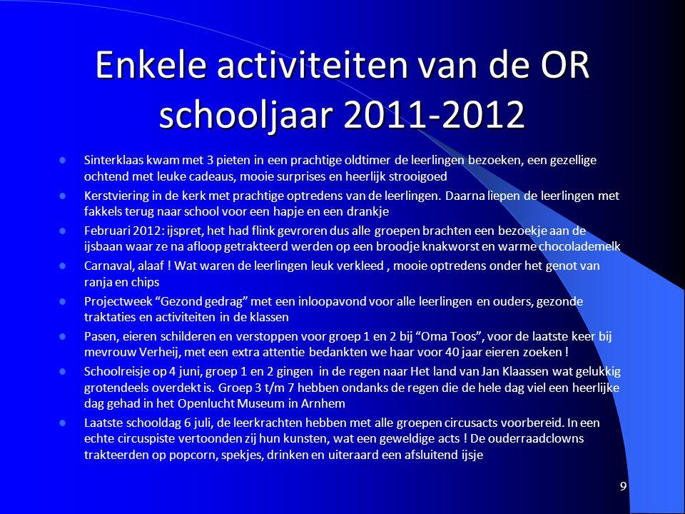Enkele activiteiten van de OR schooljaar 2011-2012 9 Sinterklaas kwam met 3 pieten in een prachtige oldtimer de leerlingen bezoeken, een gezellige och
