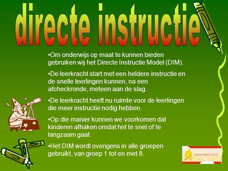 Om onderwijs op maat te kunnen bieden gebruiken wij het Directe Instructie Model (DIM).