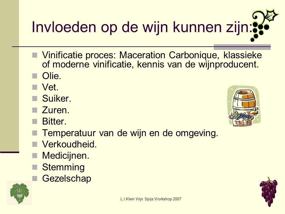 L.I.Klein Wijn Spijs Workshop 2007 Invloeden op de wijn kunnen zijn: Vinificatie proces: Maceration Carbonique, klassieke of moderne vinificatie, kenn