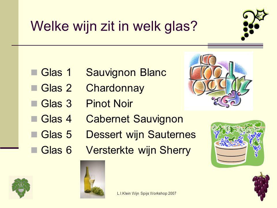 L.I.Klein Wijn Spijs Workshop 2007 Welke wijn zit in welk glas? Glas 1Sauvignon Blanc Glas 2Chardonnay Glas 3Pinot Noir Glas 4Cabernet Sauvignon Glas