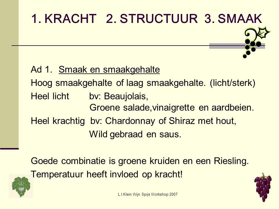 L.I.Klein Wijn Spijs Workshop 2007 1. KRACHT 2. STRUCTUUR 3. SMAAK Ad 1.Smaak en smaakgehalte Hoog smaakgehalte of laag smaakgehalte. (licht/sterk) He
