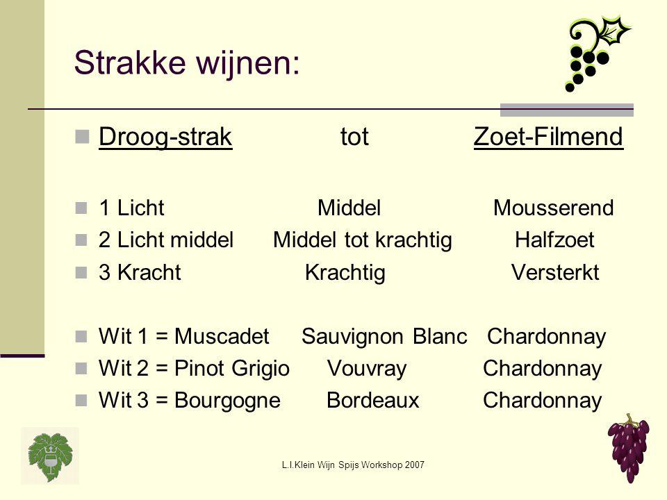 L.I.Klein Wijn Spijs Workshop 2007 Strakke wijnen: Droog-straktot Zoet-Filmend 1 Licht Middel Mousserend 2 Licht middel Middel tot krachtig Halfzoet 3