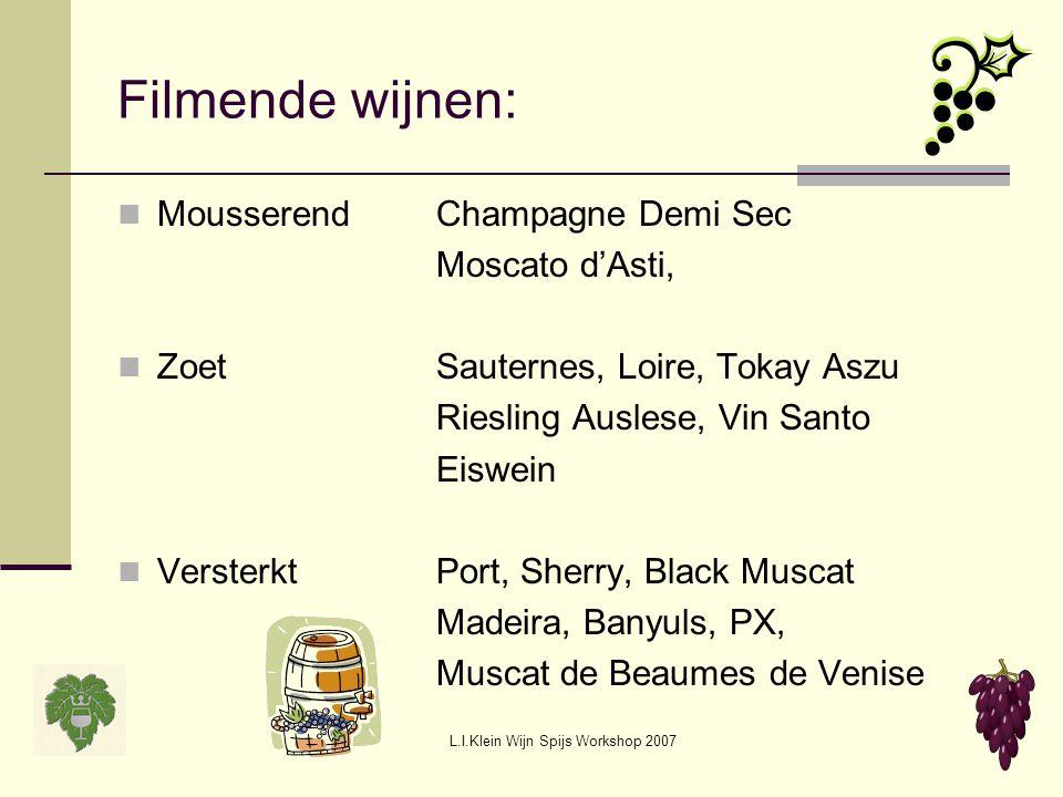 L.I.Klein Wijn Spijs Workshop 2007 Filmende wijnen: MousserendChampagne Demi Sec Moscato d'Asti, ZoetSauternes, Loire, Tokay Aszu Riesling Auslese, Vi