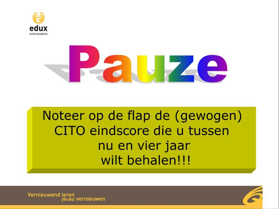 Noteer op de flap de (gewogen) CITO eindscore die u tussen nu en vier jaar wilt behalen!!!