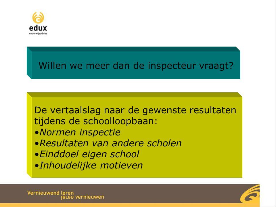Willen we meer dan de inspecteur vraagt? De vertaalslag naar de gewenste resultaten tijdens de schoolloopbaan: Normen inspectie Resultaten van andere