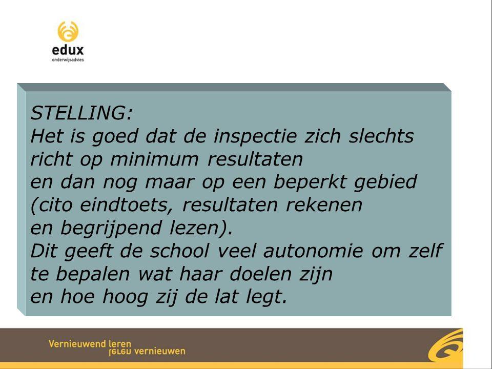 STELLING: Het is goed dat de inspectie zich slechts richt op minimum resultaten en dan nog maar op een beperkt gebied (cito eindtoets, resultaten reke