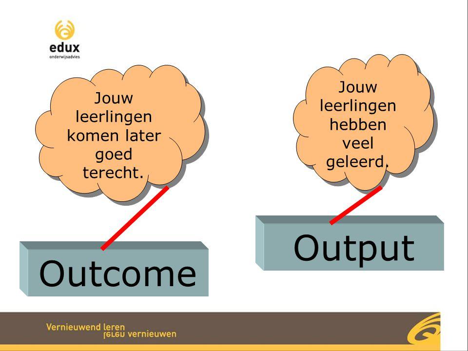 Outcome Output Jouw leerlingen komen later goed terecht. Jouw leerlingen hebben veel geleerd.