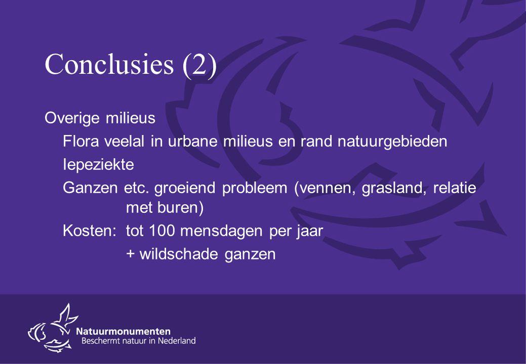 Conclusies (2) Overige milieus Flora veelal in urbane milieus en rand natuurgebieden Iepeziekte Ganzen etc. groeiend probleem (vennen, grasland, relat