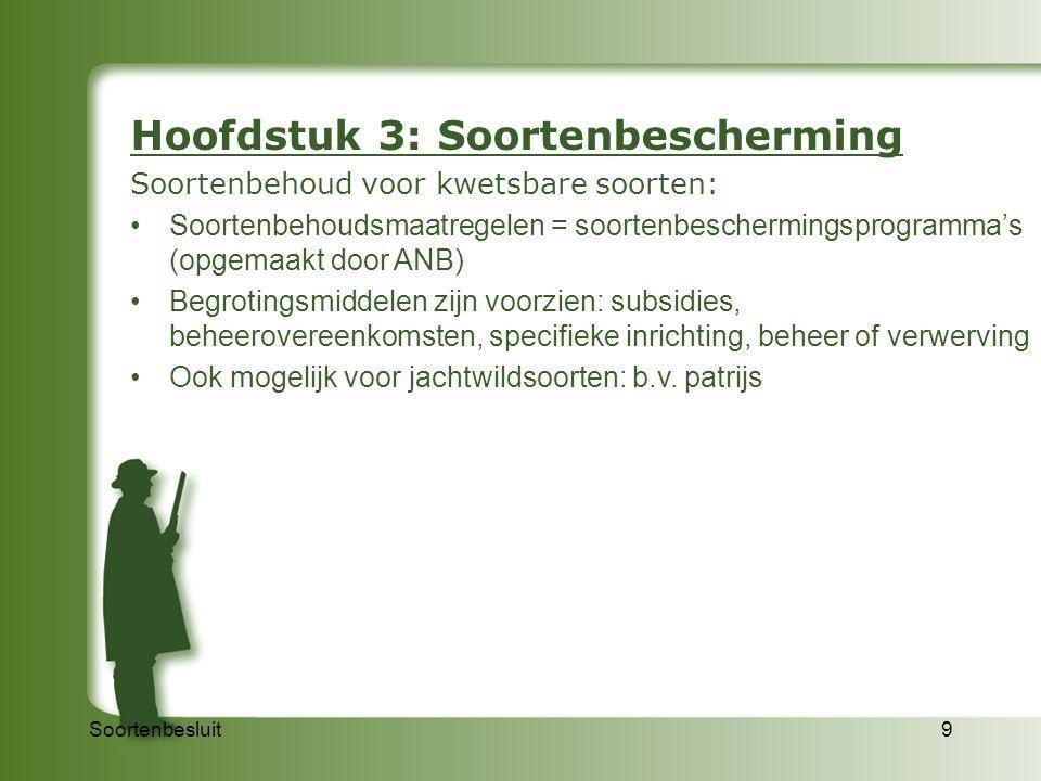 Soortenbesluit9 Hoofdstuk 3: Soortenbescherming Soortenbehoud voor kwetsbare soorten: Soortenbehoudsmaatregelen = soortenbeschermingsprogramma's (opge