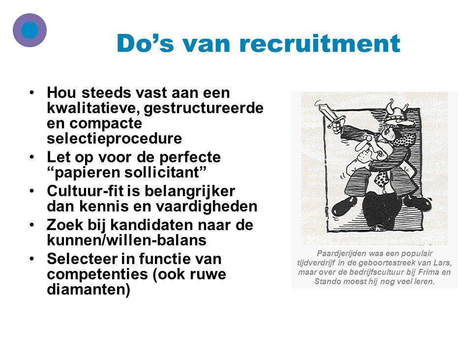"""Do's van recruitment Hou steeds vast aan een kwalitatieve, gestructureerde en compacte selectieprocedure Let op voor de perfecte """"papieren sollicitant"""
