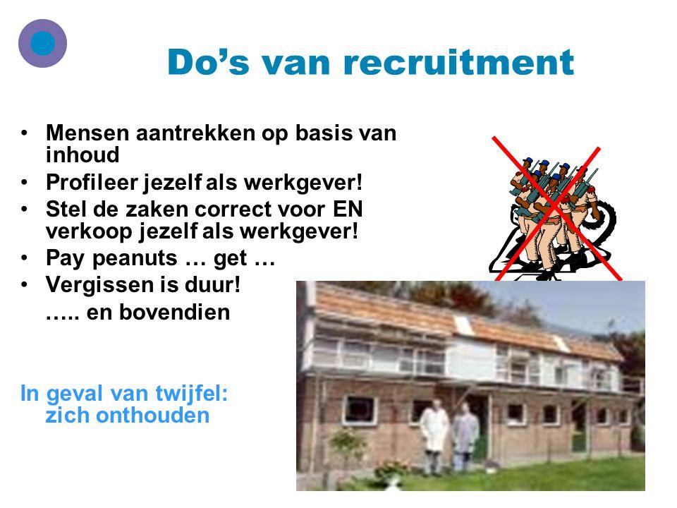Do's van recruitment Mensen aantrekken op basis van inhoud Profileer jezelf als werkgever! Stel de zaken correct voor EN verkoop jezelf als werkgever!