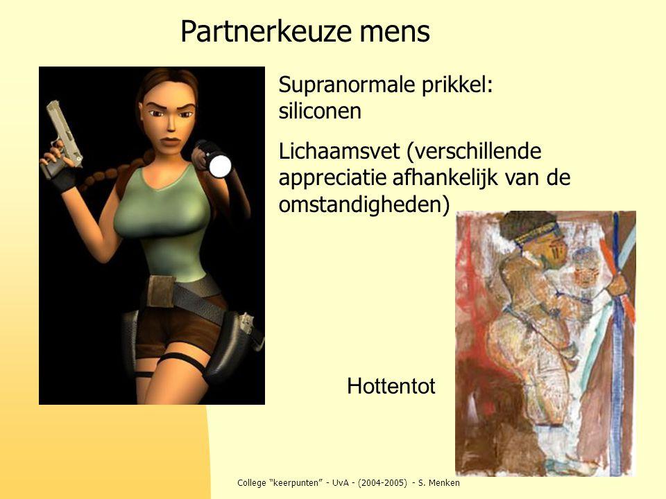 """College """"keerpunten"""" - UvA - (2004-2005) - S. Menken Partnerkeuze mens Supranormale prikkel: siliconen Lichaamsvet (verschillende appreciatie afhankel"""