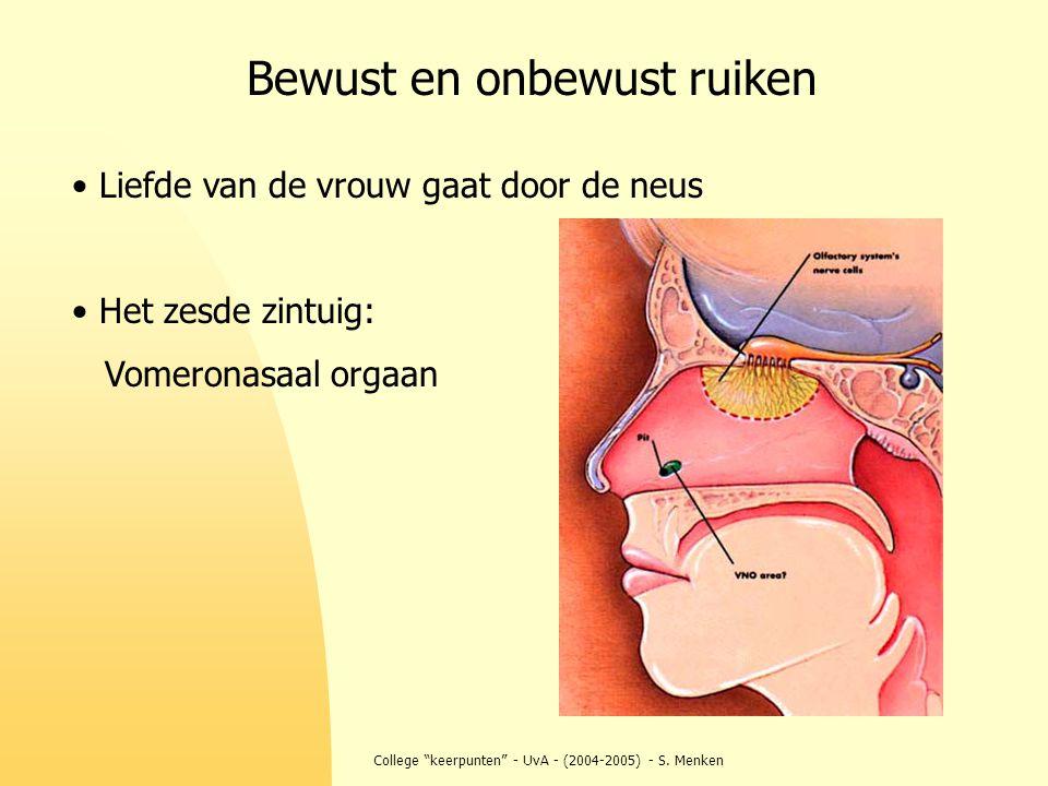 """College """"keerpunten"""" - UvA - (2004-2005) - S. Menken Liefde van de vrouw gaat door de neus Het zesde zintuig: Vomeronasaal orgaan Bewust en onbewust r"""