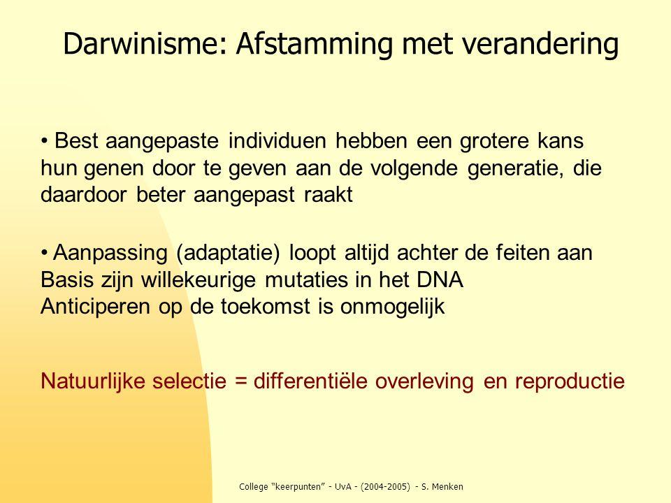 """College """"keerpunten"""" - UvA - (2004-2005) - S. Menken Darwinisme: Afstamming met verandering Natuurlijke selectie = differentiële overleving en reprodu"""