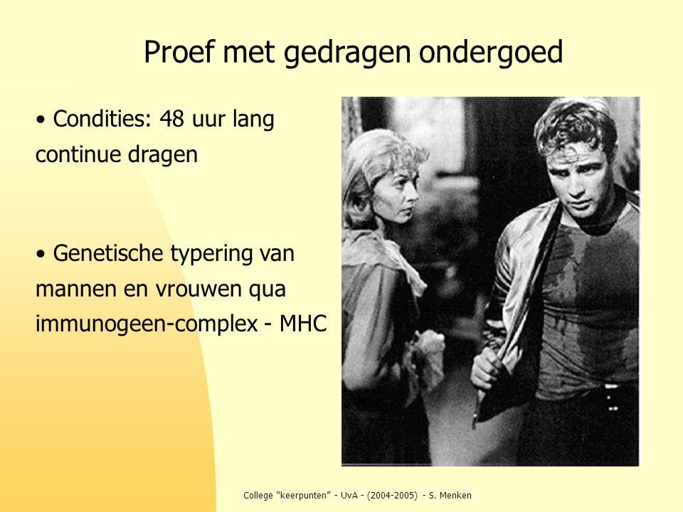 """College """"keerpunten"""" - UvA - (2004-2005) - S. Menken Condities: 48 uur lang continue dragen Genetische typering van mannen en vrouwen qua immunogeen-c"""