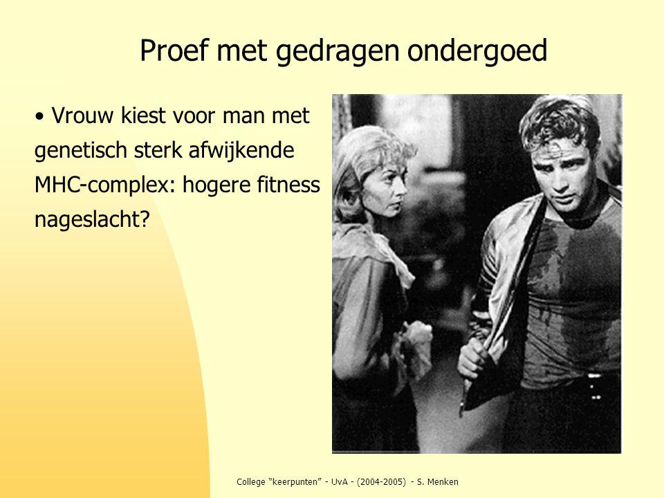 """College """"keerpunten"""" - UvA - (2004-2005) - S. Menken Vrouw kiest voor man met genetisch sterk afwijkende MHC-complex: hogere fitness nageslacht? Proef"""