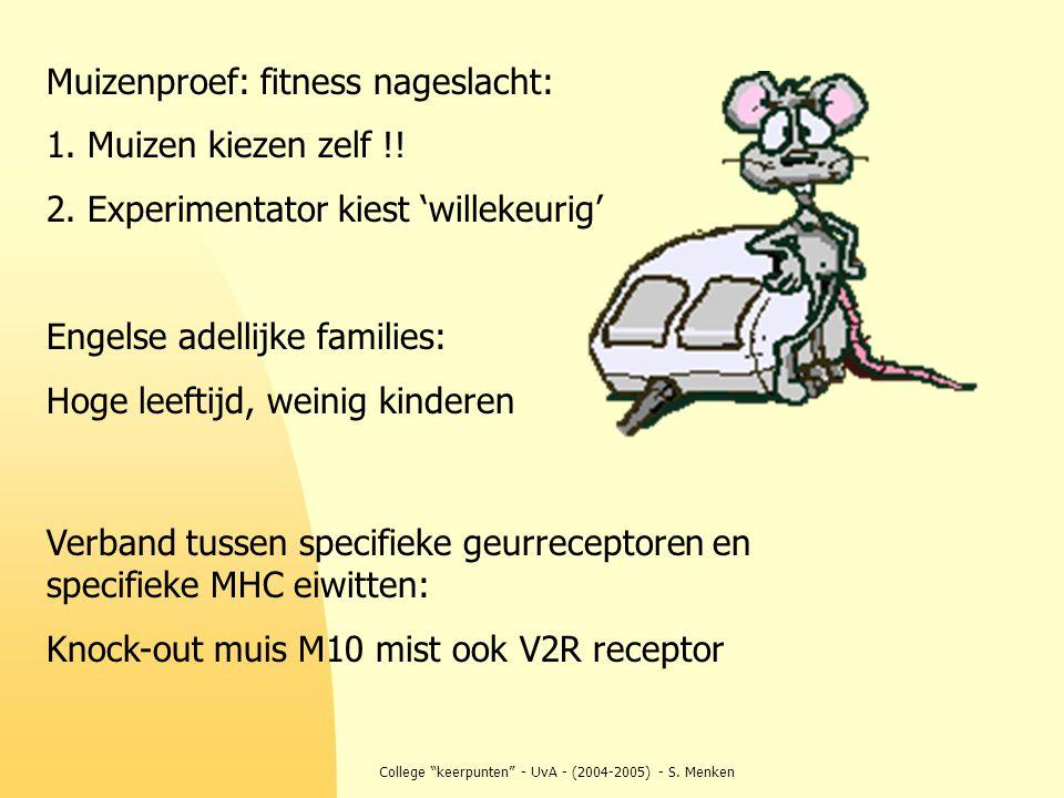 """College """"keerpunten"""" - UvA - (2004-2005) - S. Menken Verband tussen specifieke geurreceptoren en specifieke MHC eiwitten: Knock-out muis M10 mist ook"""