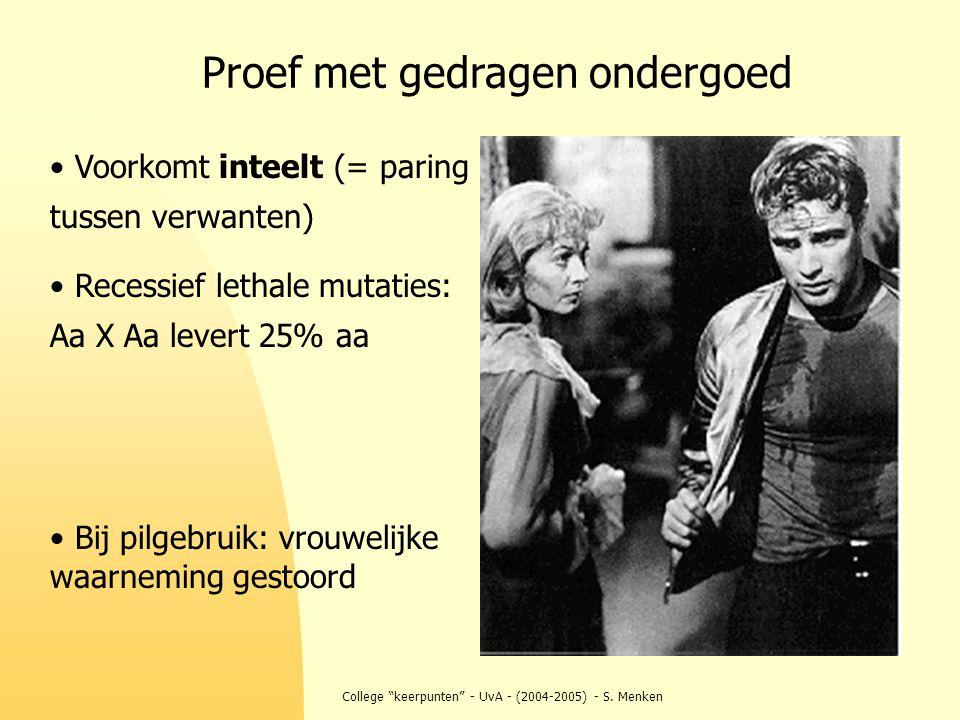 """College """"keerpunten"""" - UvA - (2004-2005) - S. Menken Voorkomt inteelt (= paring tussen verwanten) Recessief lethale mutaties: Aa X Aa levert 25% aa Bi"""