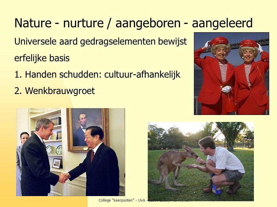 """College """"keerpunten"""" - UvA - (2004-2005) - S. Menken Nature - nurture / aangeboren - aangeleerd Universele aard gedragselementen bewijst erfelijke bas"""