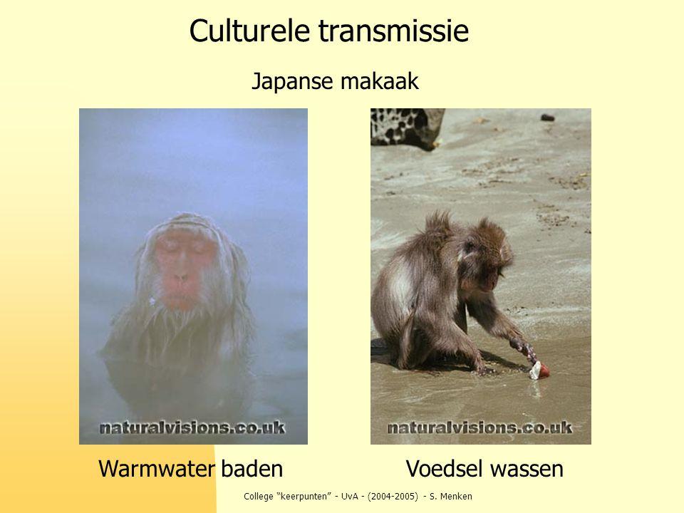 "College ""keerpunten"" - UvA - (2004-2005) - S. Menken Japanse makaak Voedsel wassen Culturele transmissie Warmwater baden"