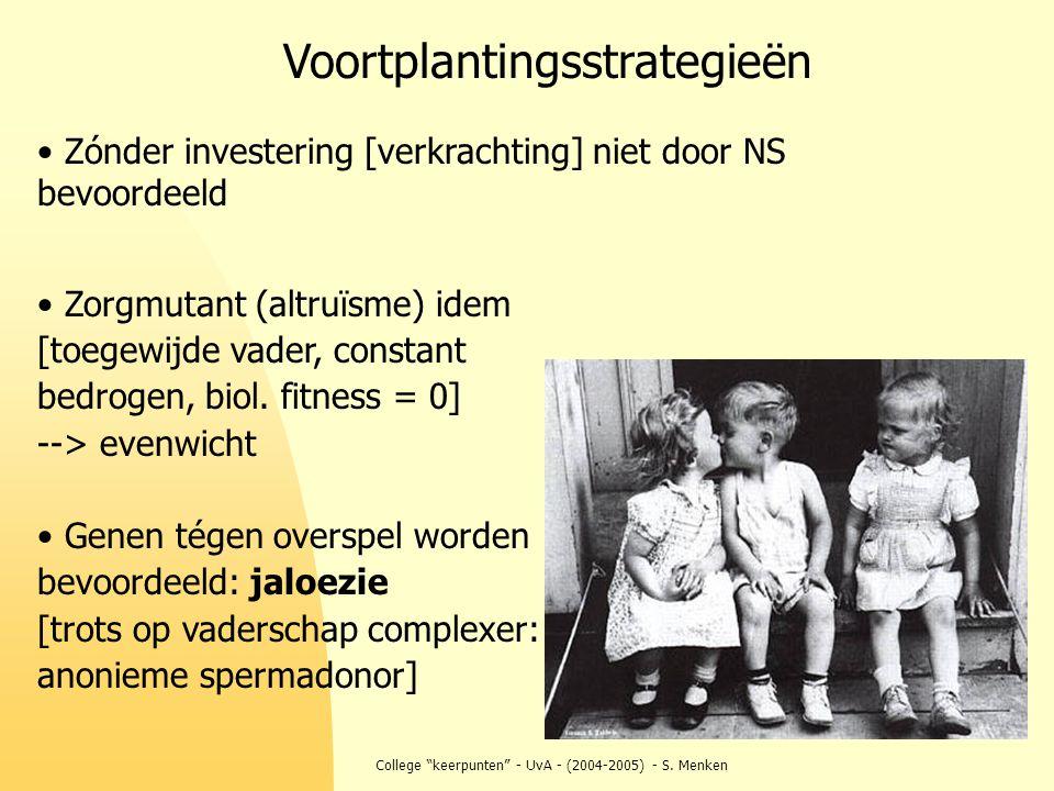 """College """"keerpunten"""" - UvA - (2004-2005) - S. Menken Zónder investering [verkrachting] niet door NS bevoordeeld Zorgmutant (altruïsme) idem [toegewijd"""
