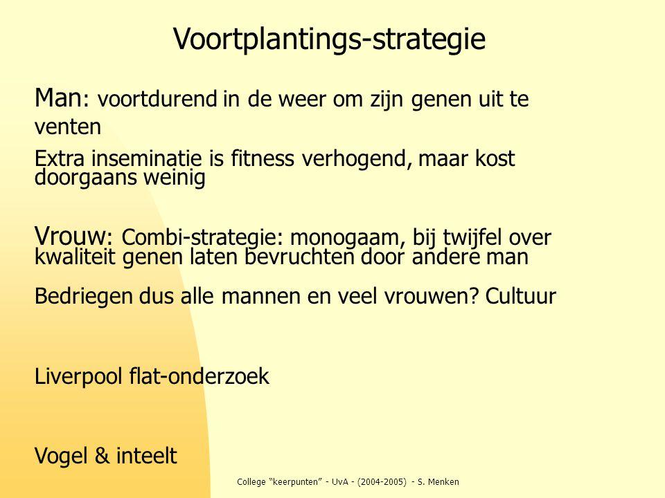 """College """"keerpunten"""" - UvA - (2004-2005) - S. Menken Man : voortdurend in de weer om zijn genen uit te venten Extra inseminatie is fitness verhogend,"""