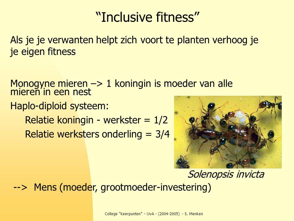"""College """"keerpunten"""" - UvA - (2004-2005) - S. Menken Als je je verwanten helpt zich voort te planten verhoog je je eigen fitness Monogyne mieren –> 1"""
