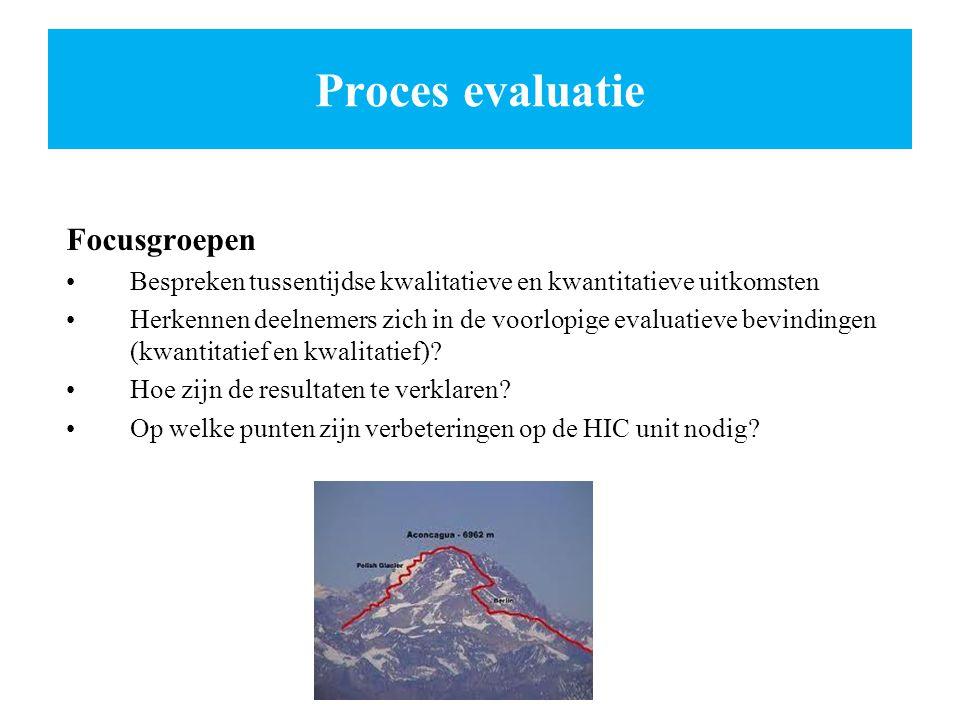 Proces evaluatie Focusgroepen Bespreken tussentijdse kwalitatieve en kwantitatieve uitkomsten Herkennen deelnemers zich in de voorlopige evaluatieve b
