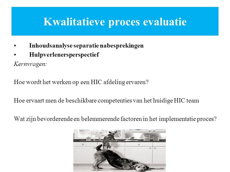 Kwalitatieve proces evaluatie Inhoudsanalyse separatie nabesprekingen Hulpverlenersperspectief Kernvragen: Hoe wordt het werken op een HIC afdeling er