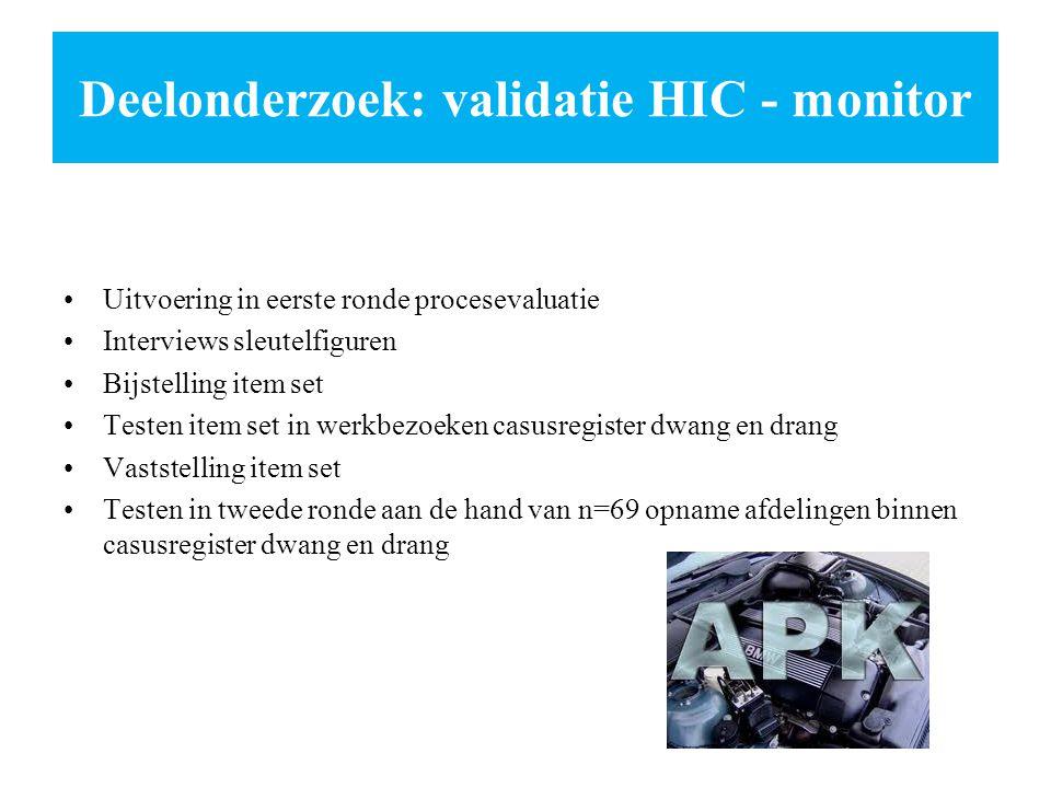 Deelonderzoek: validatie HIC - monitor Uitvoering in eerste ronde procesevaluatie Interviews sleutelfiguren Bijstelling item set Testen item set in we