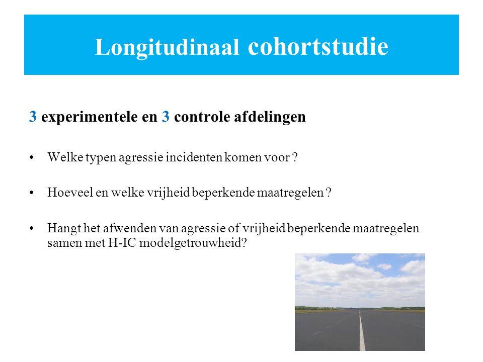Longitudinaal cohortstudie 3 experimentele en 3 controle afdelingen Welke typen agressie incidenten komen voor ? Hoeveel en welke vrijheid beperkende
