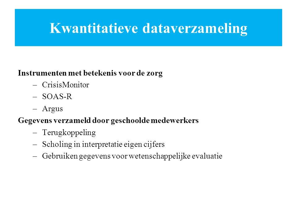 Kwantitatieve dataverzameling Instrumenten met betekenis voor de zorg –CrisisMonitor –SOAS-R –Argus Gegevens verzameld door geschoolde medewerkers –Te