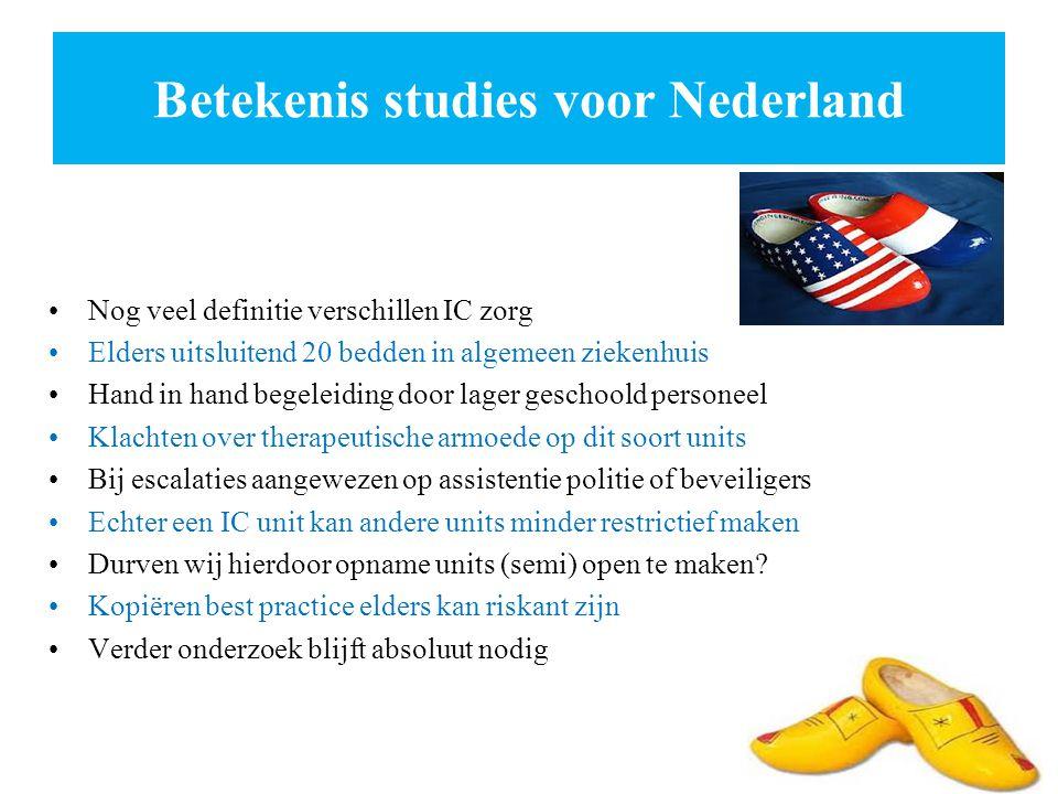 Betekenis studies voor Nederland Nog veel definitie verschillen IC zorg Elders uitsluitend 20 bedden in algemeen ziekenhuis Hand in hand begeleiding d