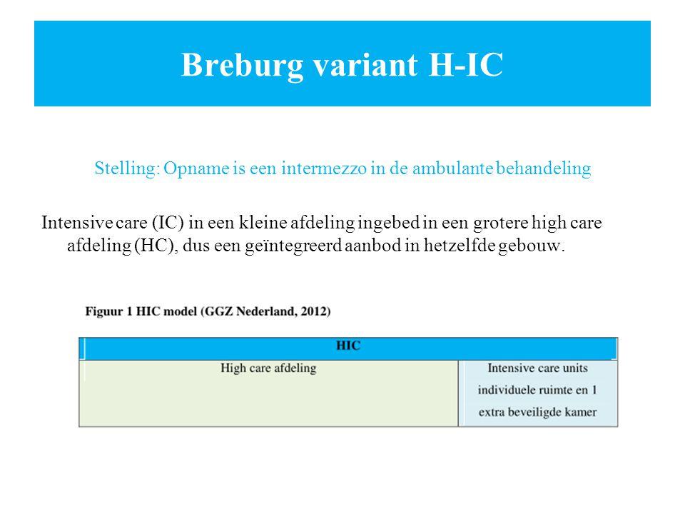 Breburg variant H-IC Stelling: Opname is een intermezzo in de ambulante behandeling Intensive care (IC) in een kleine afdeling ingebed in een grotere