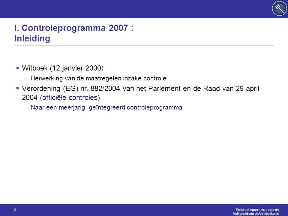 Federaal Agentschap voor de Veiligheid van de Voedselketen 2 I. Controleprogramma 2007 : Inleiding  Witboek (12 janvier 2000) -Herwerking van de maat