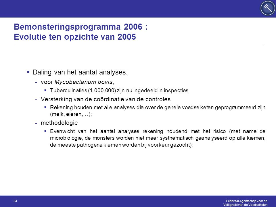 Federaal Agentschap voor de Veiligheid van de Voedselketen 24 Bemonsteringsprogramma 2006 : Evolutie ten opzichte van 2005  Daling van het aantal ana