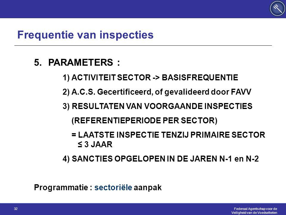 Federaal Agentschap voor de Veiligheid van de Voedselketen 32 5.PARAMETERS : 1) ACTIVITEIT SECTOR -> BASISFREQUENTIE 2) A.C.S. Gecertificeerd, of geva