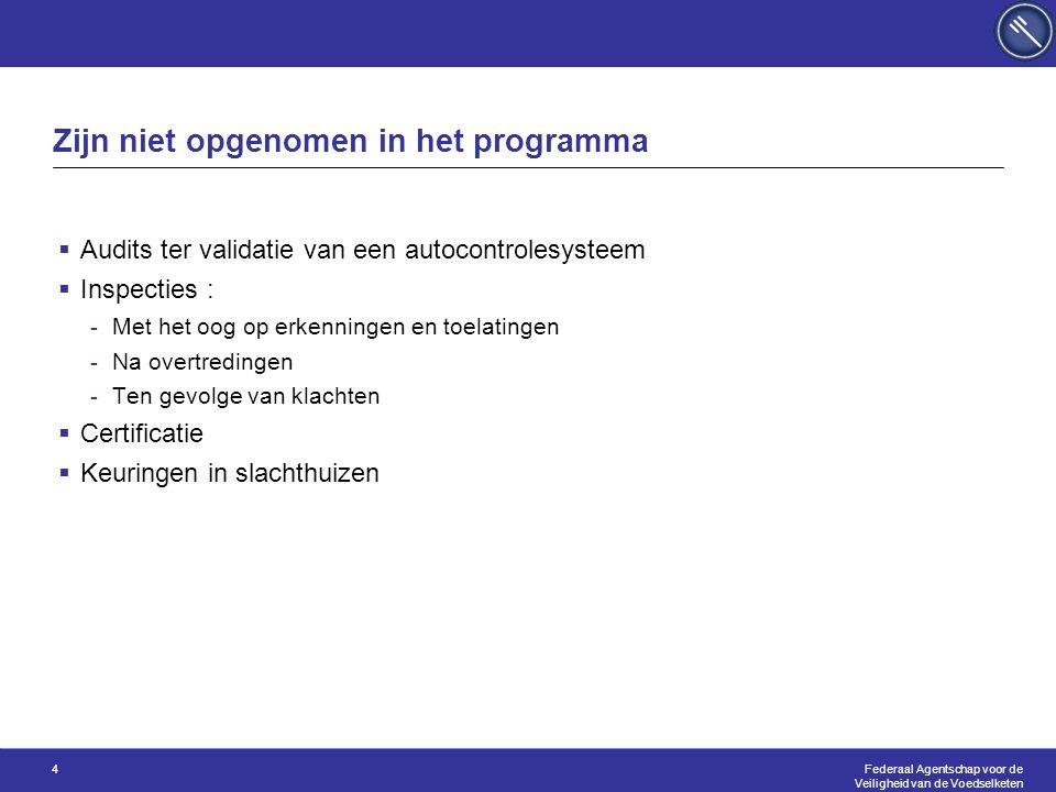 Federaal Agentschap voor de Veiligheid van de Voedselketen 4 Zijn niet opgenomen in het programma  Audits ter validatie van een autocontrolesysteem 