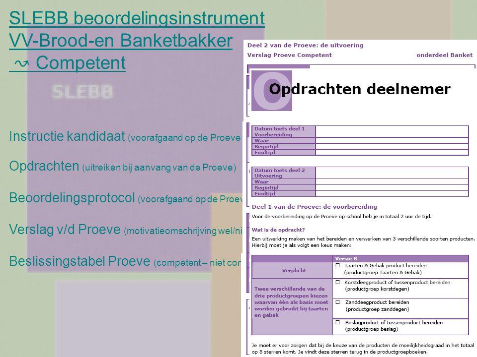SLEBB beoordelingsinstrument VV-Brood-en Banketbakker ↝ Competent Instructie kandidaat (voorafgaand op de Proeve te bespreken) Opdrachten (uitreiken b