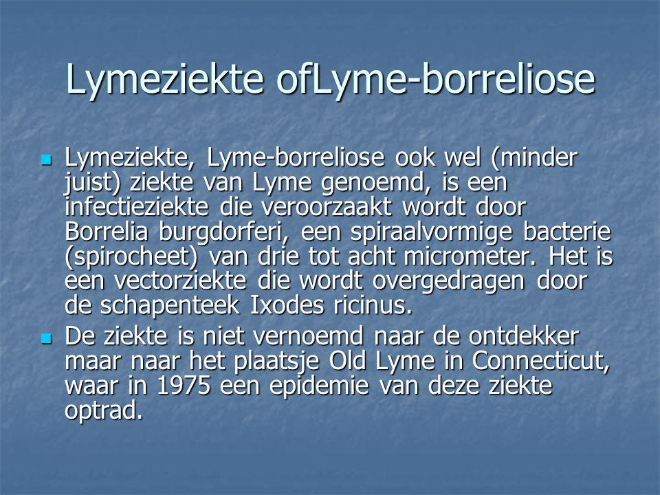 Lymeziekte ofLyme-borreliose Lymeziekte, Lyme-borreliose ook wel (minder juist) ziekte van Lyme genoemd, is een infectieziekte die veroorzaakt wordt d