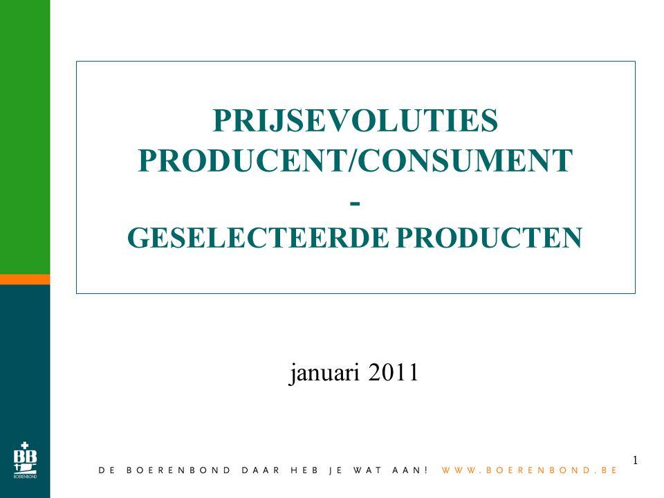 1 PRIJSEVOLUTIES PRODUCENT/CONSUMENT - GESELECTEERDE PRODUCTEN januari 2011