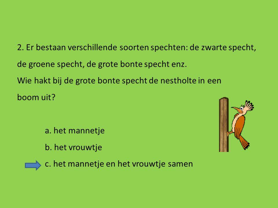1. Hoeveel procent van de oppervlakte van Vlaanderen is bos? a. 10% b. 30% c. 50% d. 80%