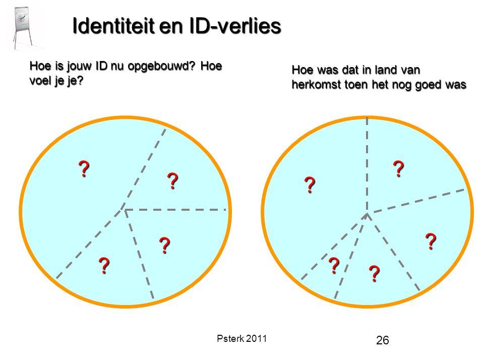 Psterk 2011 26 Identiteit en ID-verlies Hoe is jouw ID nu opgebouwd? Hoe voel je je? Hoe was dat in land van herkomst toen het nog goed was ? ? ? ? ?