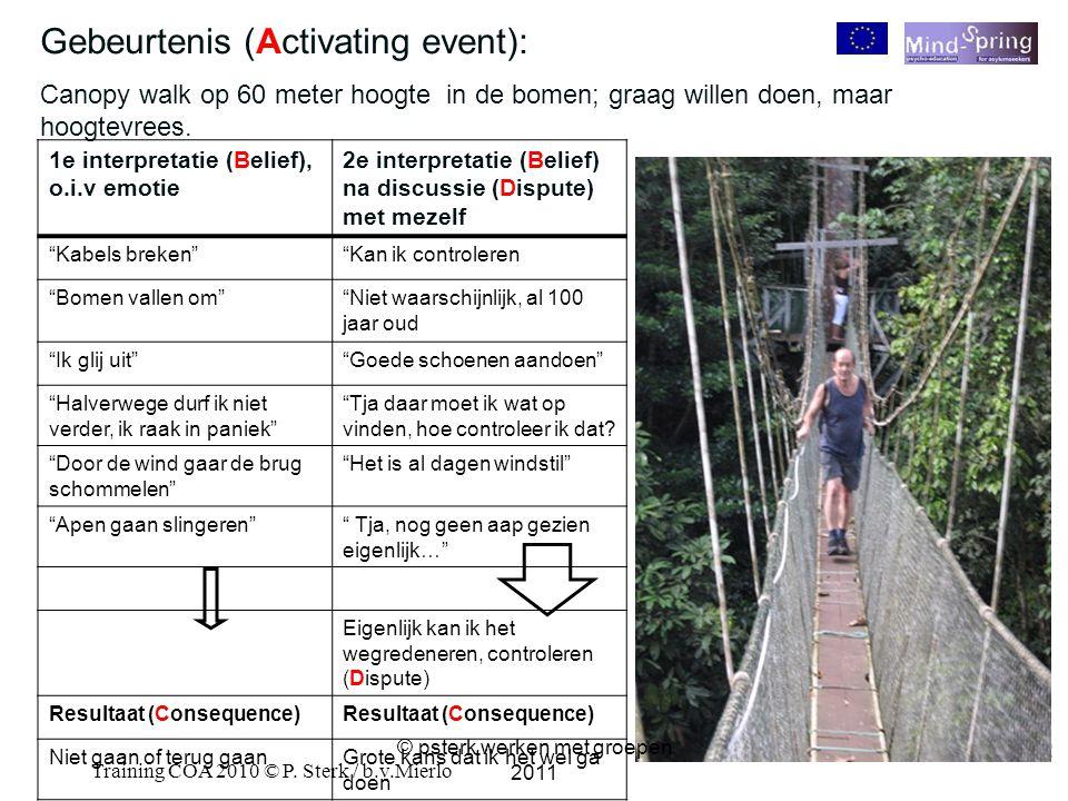 32 Training COA 2010 © P. Sterk / b.v.Mierlo 32 Gebeurtenis (Activating event): Canopy walk op 60 meter hoogte in de bomen; graag willen doen, maar ho