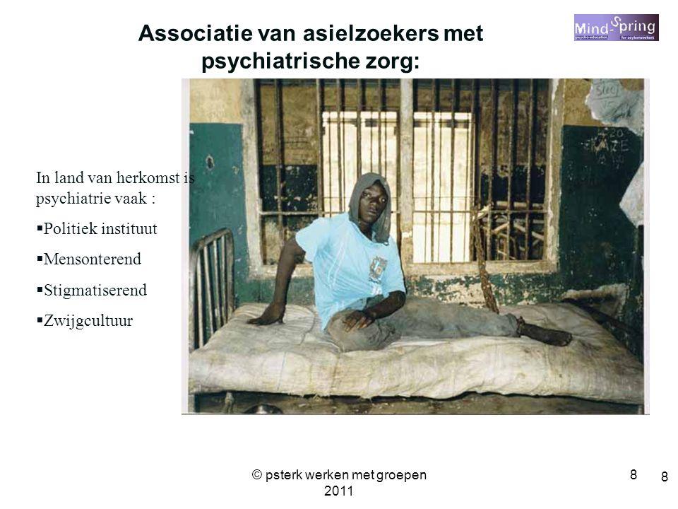 8 8 Associatie van asielzoekers met psychiatrische zorg: In land van herkomst is psychiatrie vaak :  Politiek instituut  Mensonterend  Stigmatisere