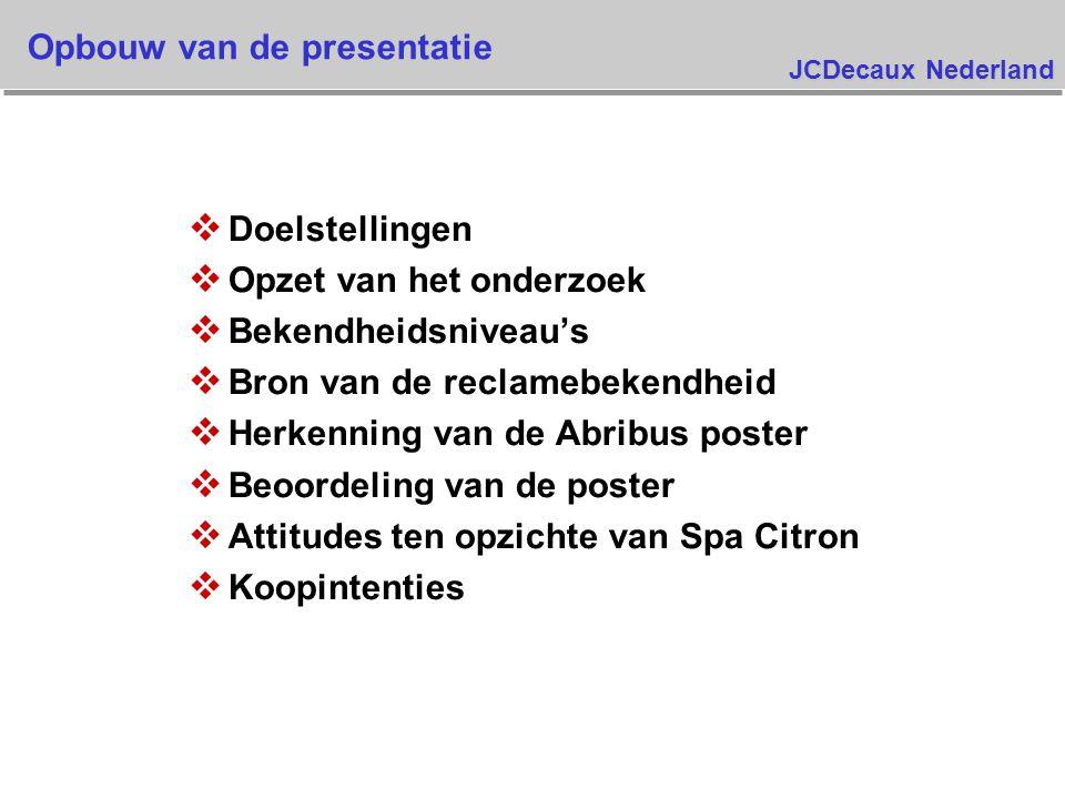 JCDecaux Nederland v Doelstellingen v Opzet van het onderzoek v Bekendheidsniveau's v Bron van de reclamebekendheid v Herkenning van de Abribus poster v Beoordeling van de poster v Attitudes ten opzichte van Spa Citron v Koopintenties Opbouw van de presentatie
