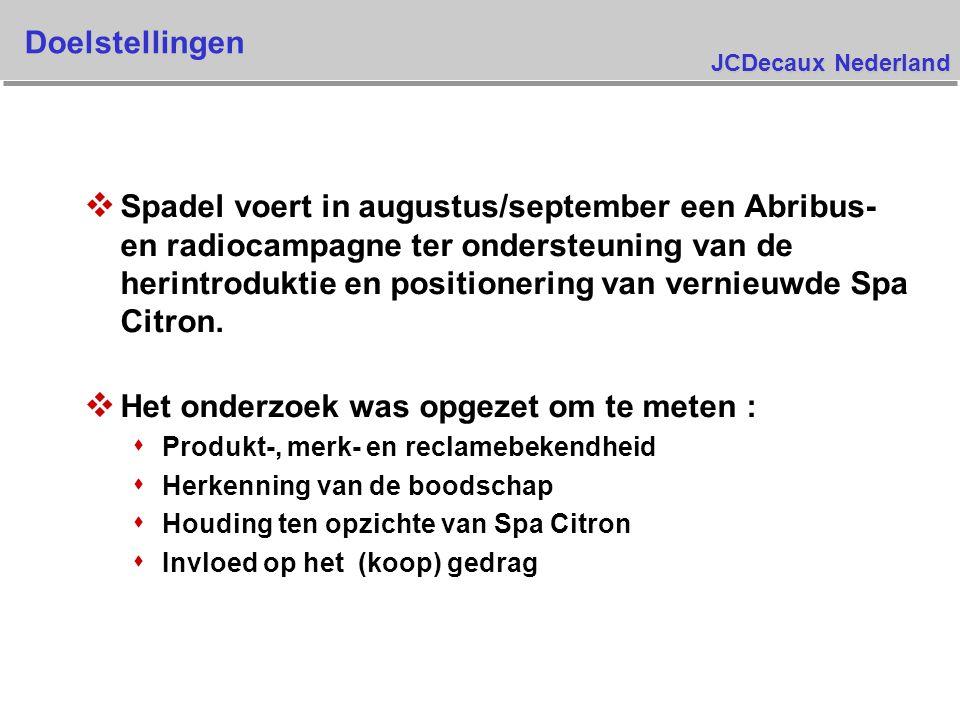 JCDecaux Nederland Doelstellingen v Spadel voert in augustus/september een Abribus- en radiocampagne ter ondersteuning van de herintroduktie en positionering van vernieuwde Spa Citron.