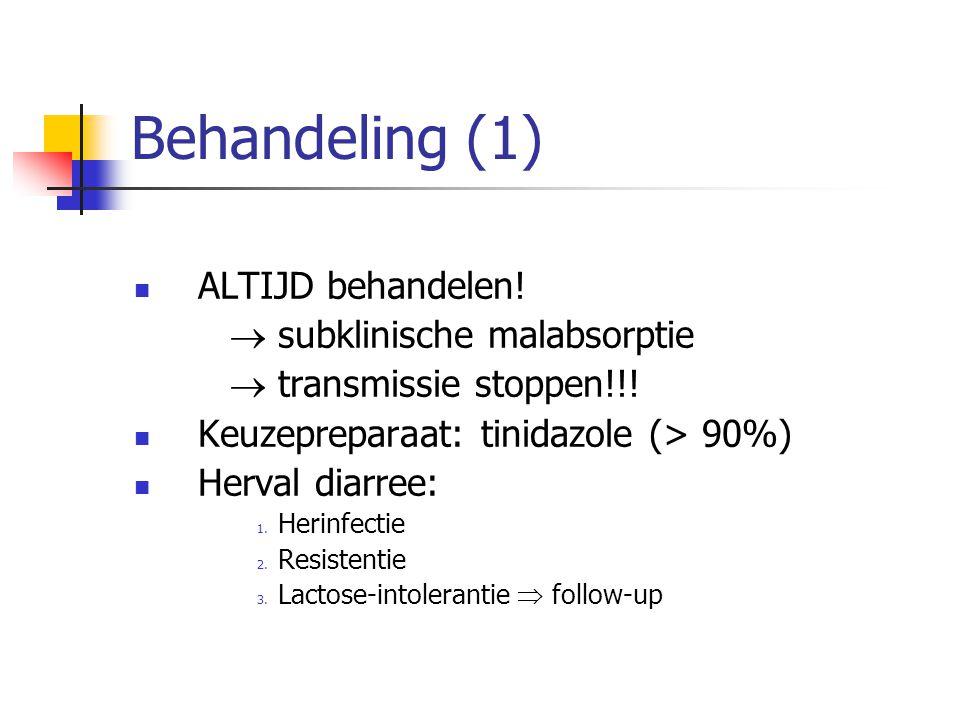 Behandeling (1) ALTIJD behandelen!  subklinische malabsorptie  transmissie stoppen!!! Keuzepreparaat: tinidazole (> 90%) Herval diarree: 1. Herinfec