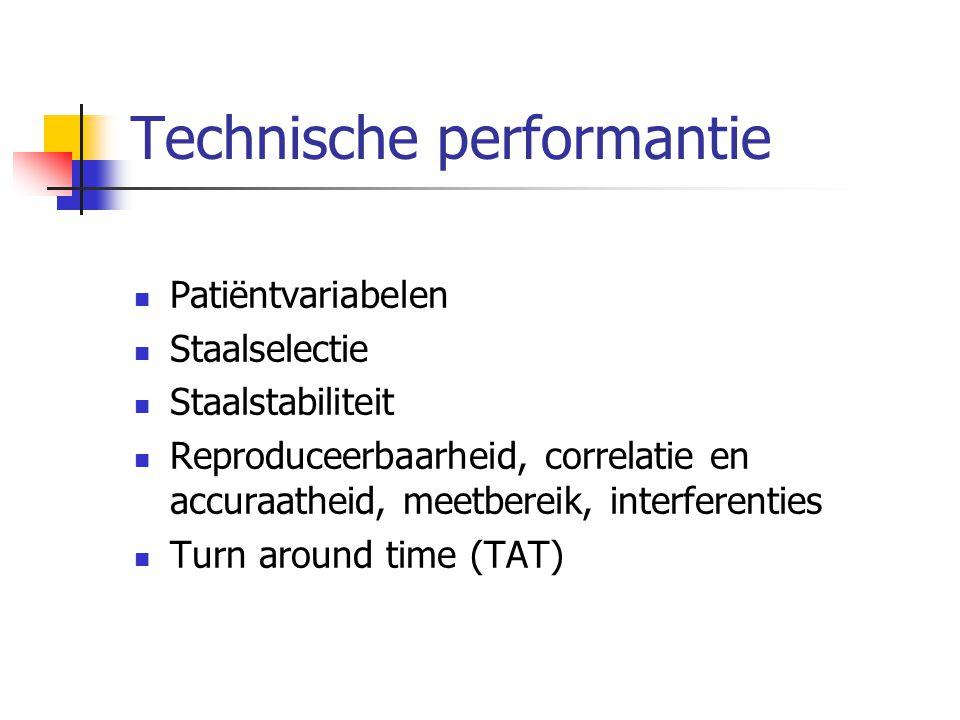 Technische performantie Patiëntvariabelen Staalselectie Staalstabiliteit Reproduceerbaarheid, correlatie en accuraatheid, meetbereik, interferenties T