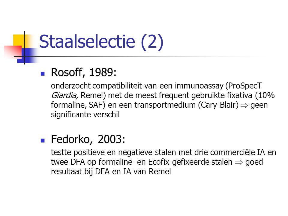 Staalselectie (2) Rosoff, 1989: onderzocht compatibiliteit van een immunoassay (ProSpecT Giardia, Remel) met de meest frequent gebruikte fixativa (10%
